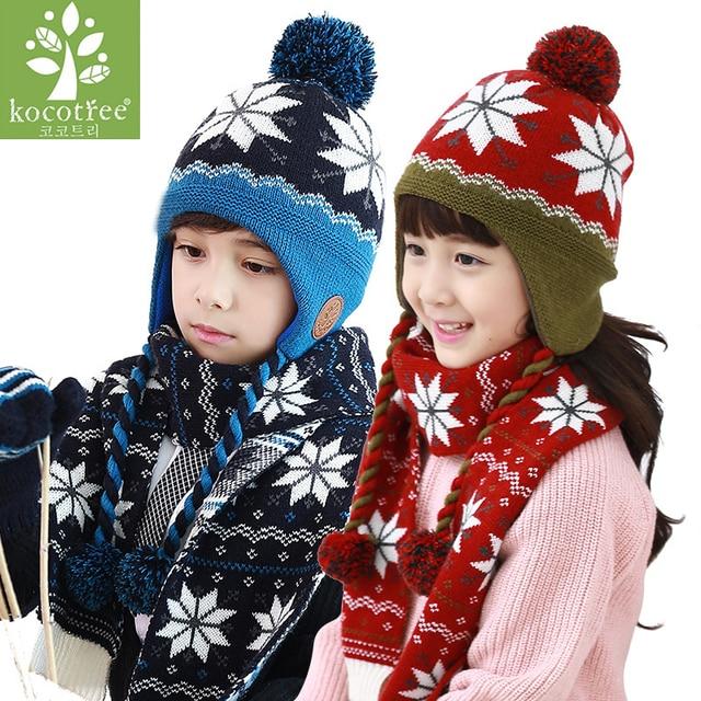 Kocotree Children Winter Hat Scarf Gloves Set Snowflake Pattern Knit Kids  Beanie Caps Neck Warmers Mittens e1189232728