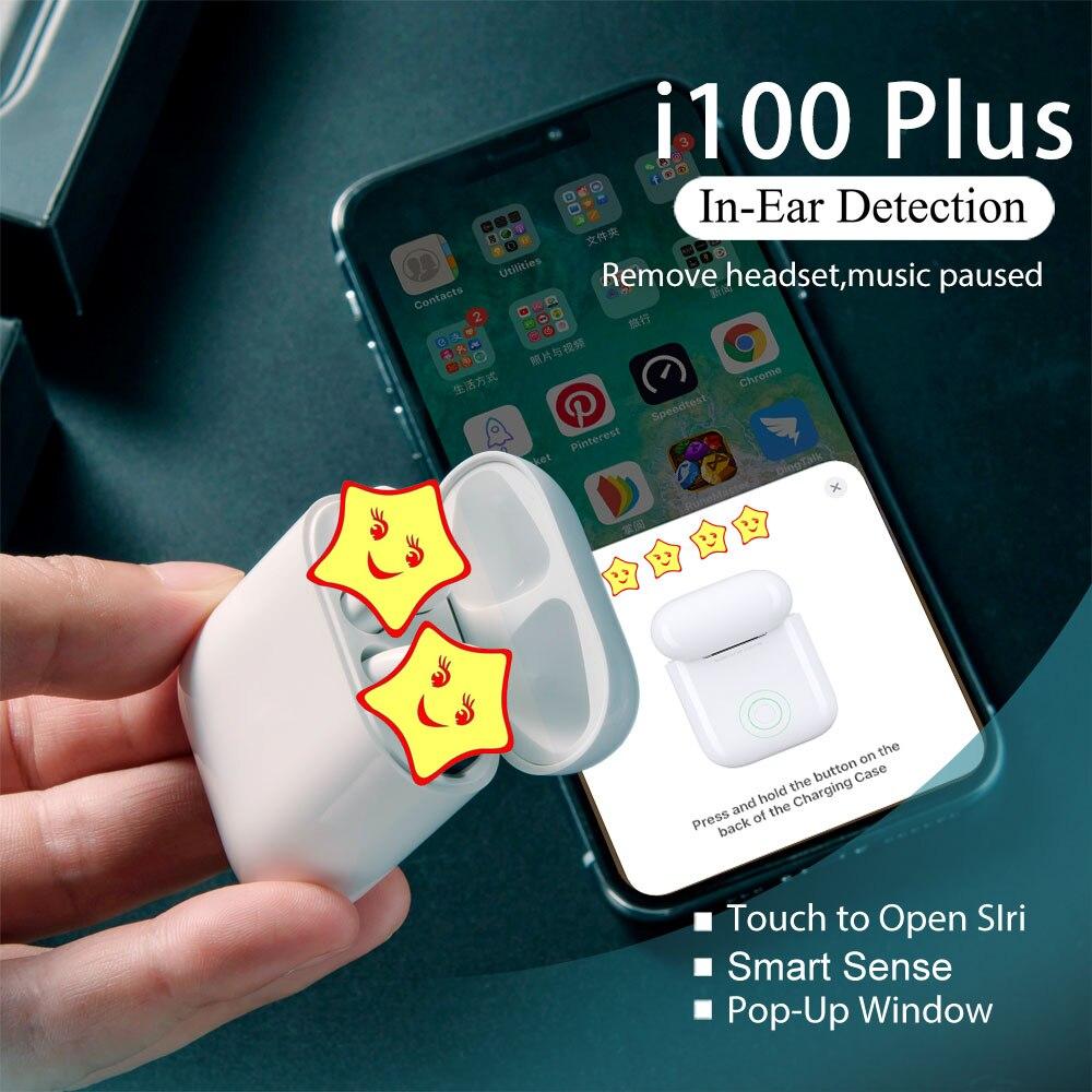 i100 Plus TWS Smart Sensor Pop up Bass Bluetooth Wireless Earphone PK W1 H1 Chip TWS