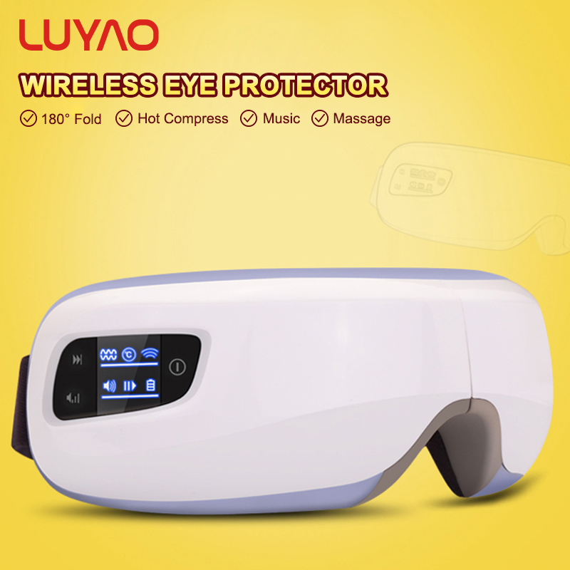 LUYAO Rechargeable Air Pressure Eye Massager Wireless USB Vibration Eye Relax Glasses With Music Heating Vibration Functions