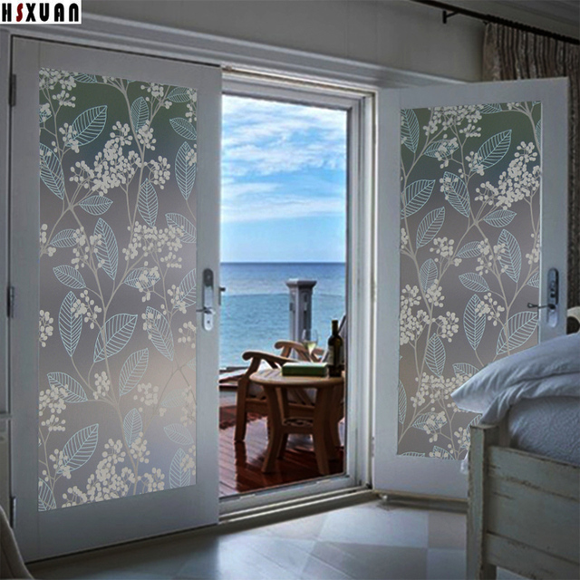 Delightful Privacy Decorative Static Window Film, Pvc Frosted Flower Fruit Self  Adhesive Bathroom Glass Window Stickers