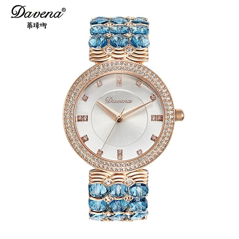 2016 new Women's Austrian crystal rhinestone jewelry watches Women fashion casual quartz watch Good quality Davena 60891 clock