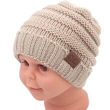b95b3171b69490 2019 0-2 yrs Children solid Skullies Crochet Beanies with Letter CC tag Kids  baby hats Winter keep warm head cap Boys&girl N726