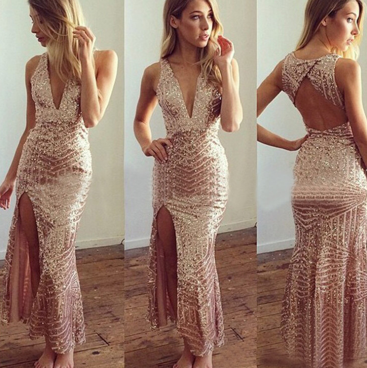Popular Gold Sequin Long Dress Slit-Buy Cheap Gold Sequin Long ...