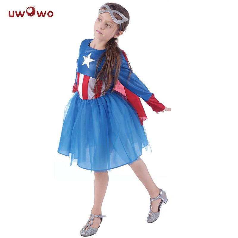 UWOWO Girls Captain America Costume Dress Kids Anime Cosplay Halloween Costume For Kids Child Anime America Costume Cosplay