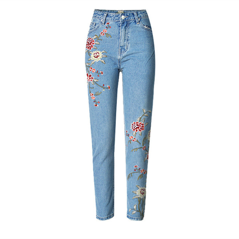 LOLEN Nine Points 3D Embroidered Jeans High Waist Fashion Slim Pants for Women