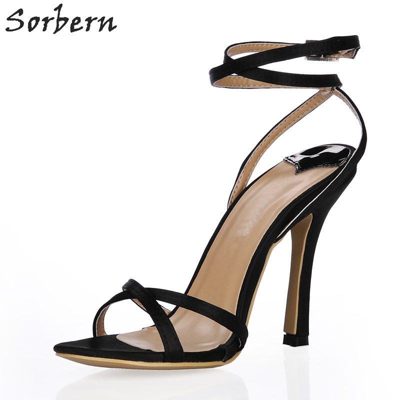 все цены на Sorbern Ankle Wrap Women Sandals High Heels Summer Shoes Women Stilettos Cross Straps Simple Ladies Shoes Sandale Femme Ete 2018 в интернете