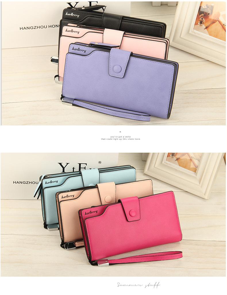 2018 New Wallet Split Leather Wallets Female Long Wallet Women Zipper Purse Money Bag pink one size 17