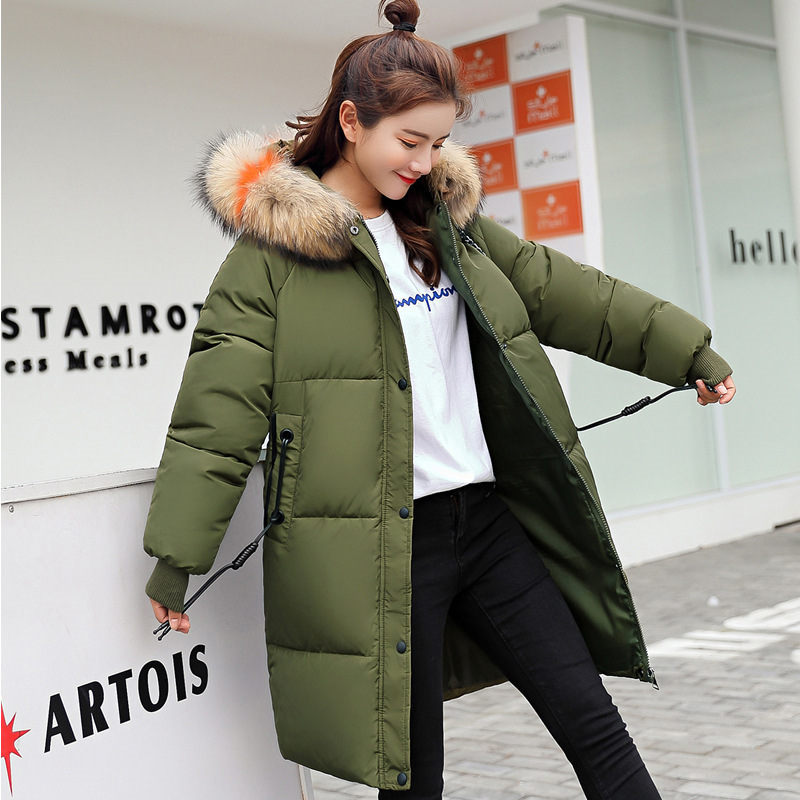 2018 New Autumn Winter Womens Down Jacket Big Fur Collar Hooded Jackets Outerwear Womens Coat Pregnancy Clothing Parkas A877