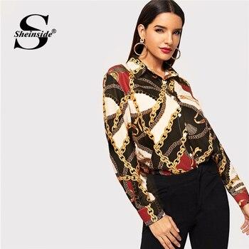 cbd1ef3d83e Sheinside элегантные с длинным рукавом цепи принт Для женщин блузка рубашка  женские офисные Для женщин s Топы и блузки 2019 осенние Рубашки