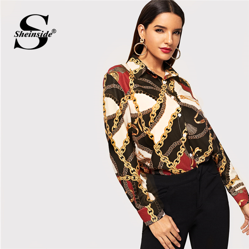 Sheinside Elegant Long Sleeve Chain Print Women Blouse Shirt Office Ladies OL Work Womens Tops And Blouses 2019 Autumn Shirts