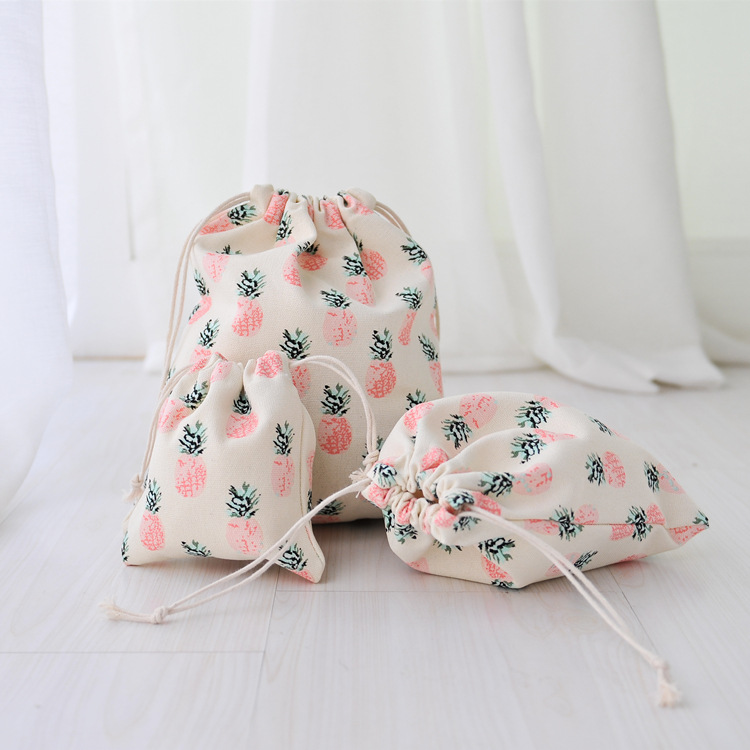 Handmade Cotton Linen pineapple Drawstring Bag Travel Storage Package Bags Shopping Bag Coin Purse Christmas Gift