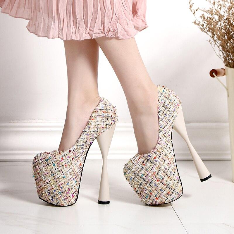 Femmes Sexy Pompes apricot Plate Chaussures À Soirée Noir Talons Femme Discothèque 19 Automne Beckywalk Tricoter Laine Haute vert Cm forme Wsh2609 qOvfxqIw