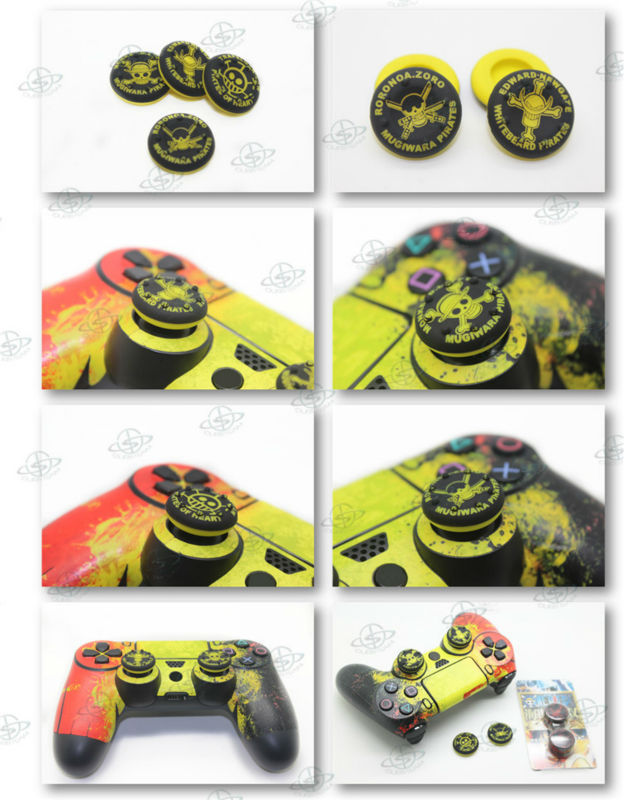 One Piece Style Yellow silicone thumbstick grips for PS4 games controller mod kit parts