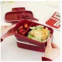 Fun Leben 12:00 Es Lunch Zeit Japan stil Doppelstöckige Bento Lunchbox 4 Farbe Große Mahlzeit Box Geschirr Mikrowelle Geschirr Set