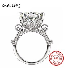 Luxury Big SONA CZ Engagement Ring 925 Sterling Silver Flower Crown Design Jewelry Wedding Rings For Women size 5-10