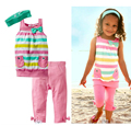New Summer Girls Suit Pants +T-Shirt +Scarf 3Pcs Sets Colored Stripes Pocket Bow Ribbon Wholesale Children'S Clothing 2-6 T
