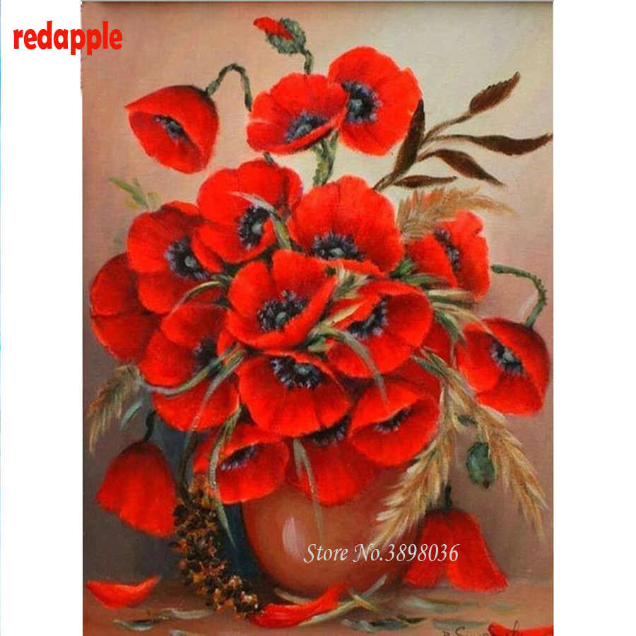 Diy diamond embroidery Poppies flowers painting 5d full rhinestones pasted diamond painting cross stitch kits mosaic needlework