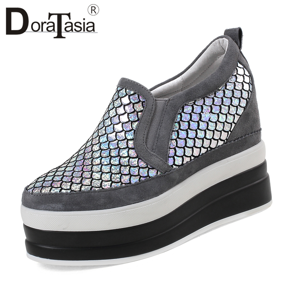 DORATASIA Large Size 32 40 Fashion Glitters Casual Platform Loafers Women Natural Suede slip on Shoes