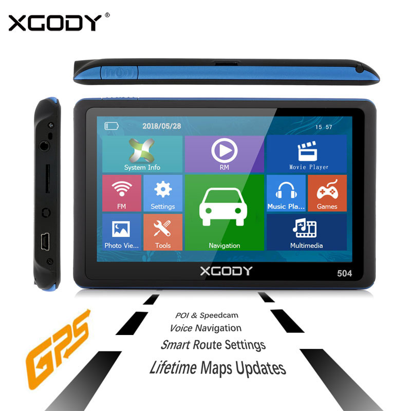 XGODY Touch-Screen Sunshade Navigation GPS Sat Nav 5inch Europe-Map With 8GB MP4 MP3