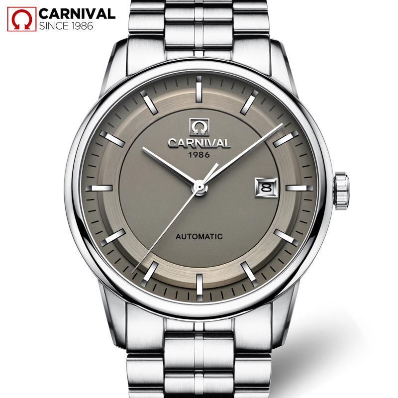 Carnival Watch Men Clock Mechanical-Wristwatches Strap Stainless-Steel Waterproof Calendar