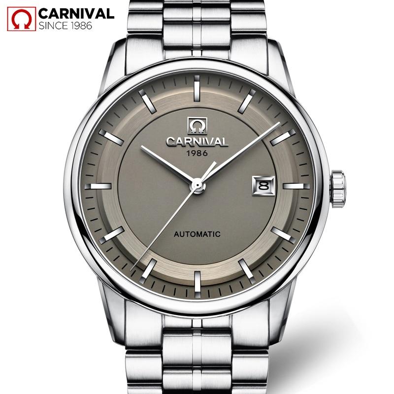 Carnaval relógio automático masculino negócios aço inoxidável cinta mecânica relógios de pulso calendário à prova dwaterproof água relógios relógio masculino 2018