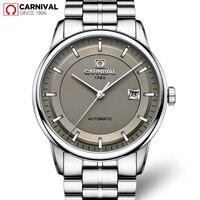 Carnival Automatic Watch Men Business Stainless Steel Strap Mechanical Wristwatches Calendar Waterproof Watches Mens Clock 2018