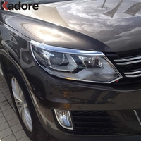 Car Styling Accessories For Volkswagen Tiguan 2013 2014 2015 Chrome Head Light Headlight Car Lamp Shade