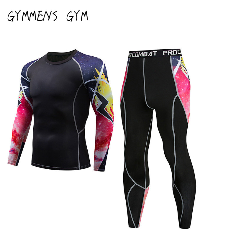 GYMMENS Men Compression Tights Quickly Dry Gym Set For Men Sports Suits Running Jogging Fishing Cloth