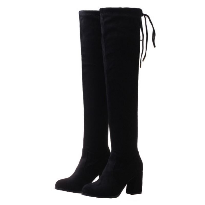 SJJH Women Flock Long Chelsea Boots with Round Toe Chunky Short Plush Over-the-Knee Boots Fashion Casual Shoes Large Size A903