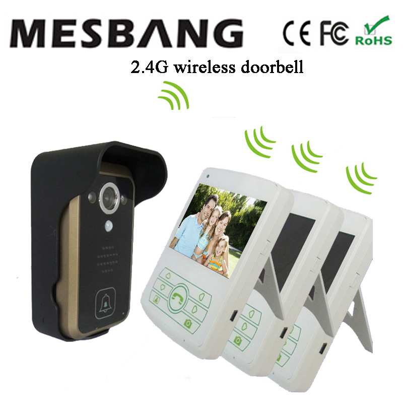 hot new white color 2.4G wireless doorphone intercom one camera with three 3.5 inch monitor easy to install free shipping ...