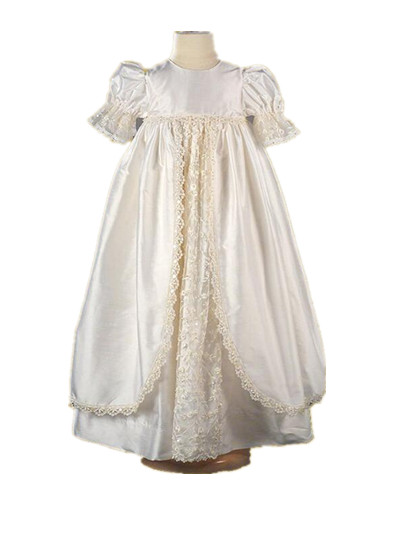 2016 Heirloom Infant Christening Gown Baby Girl Baptism Dress White Ivory 2 Tier Lace Applique Robe 0-24 month 2016 vintage baby girl christening gown white ivory baptism dress lace applique robe short sleeves 0 24 month