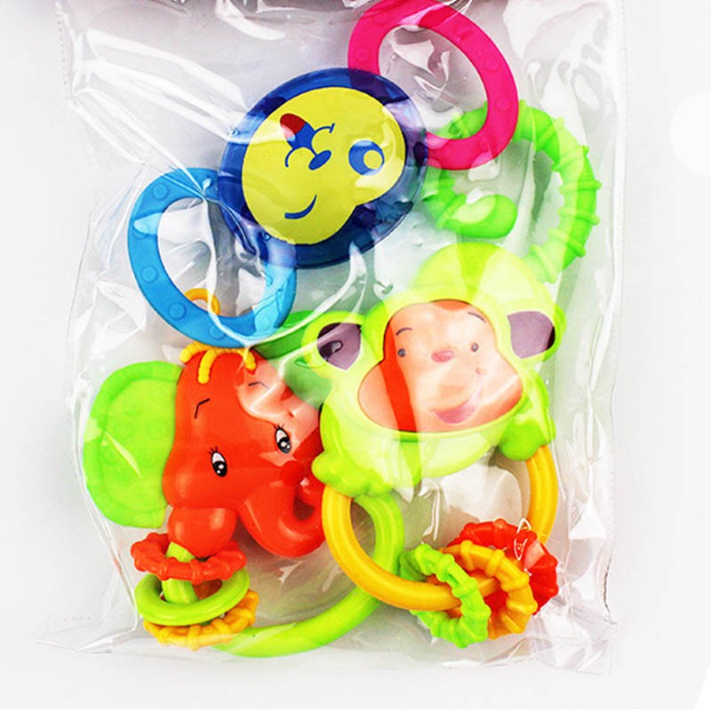 Baby Rattles Mobiles Monkey Shake Hand Bell Ring Musical Kid Toys Newborn Educational Infant Brand Quality Gift 3/4PCS/Sets