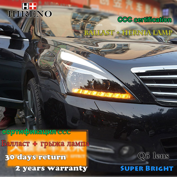Hireno Headlamp for 2008-2012 Nissan Altima teana Headlight Assembly LED DRL Angel Lens Double Beam HID Xenon 2pcs teana angel eyes led head lights for nissan 2008 11 v4 type