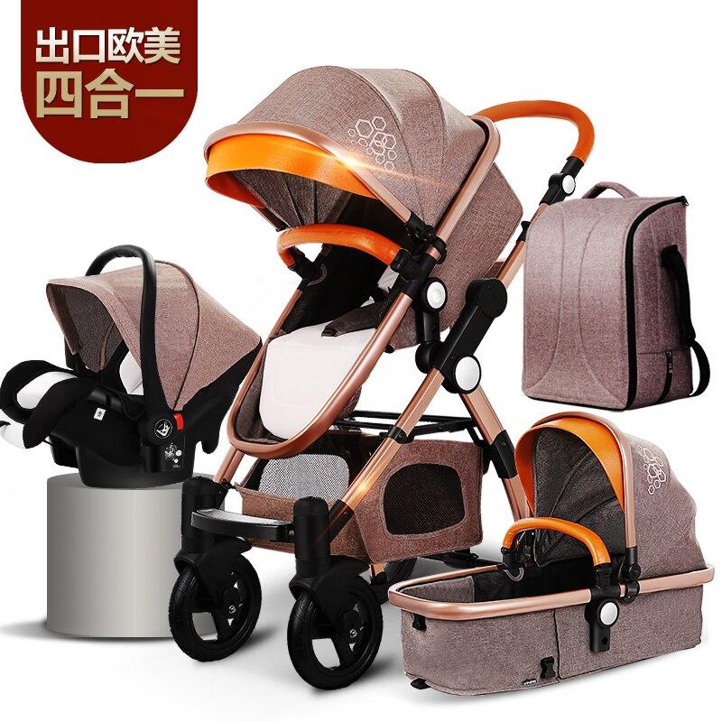 Haute poussette bébé paysage bébé doré 3 en 1 poussette pliante Portable 2 en 1 chariot de luxe ree shipping