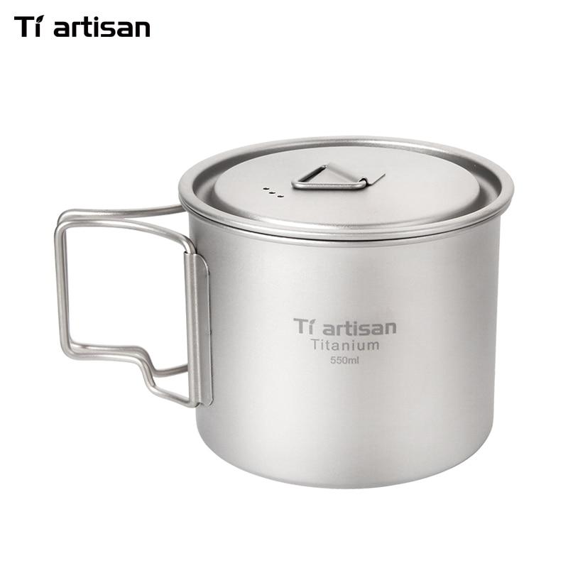 Tiartisan Titanium Water Mugs Coffee Mug Folding Handle Drinkware Camping Cups Ultralight Portable Outdoor Travel Mug