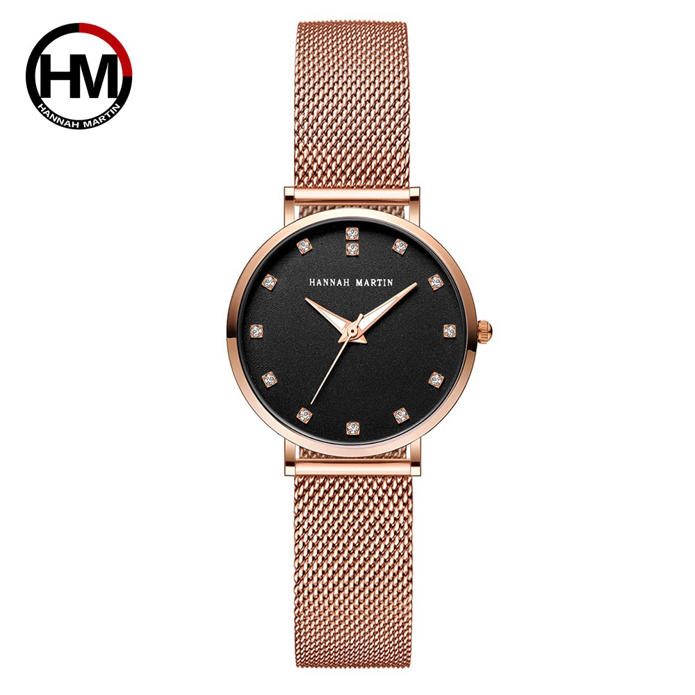 Hannah Martin Rose Gold Women Watches Luxury Ladies Watch Crystal Quartz Wristwatch relogio feminino Reloj Mujer Steel Mesh Band luxury pear shell dial ladies watches fashion green quartz women watch rose gold milan mesh belt waterproof watch reloj mujer