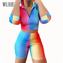 WUHE Retro Two Pieces Sets Bodycon Summer Playsuits Women Elegant Half Sleeve Zipper Hollow Out Jumpsuits Vintage Overalls