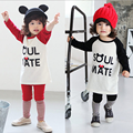 Retail 2017 Autumn style Infant clothes Clothing sets Mickey Words 2pcs(Full Sleeve + Pants) Baby girls clothes Free Shipping