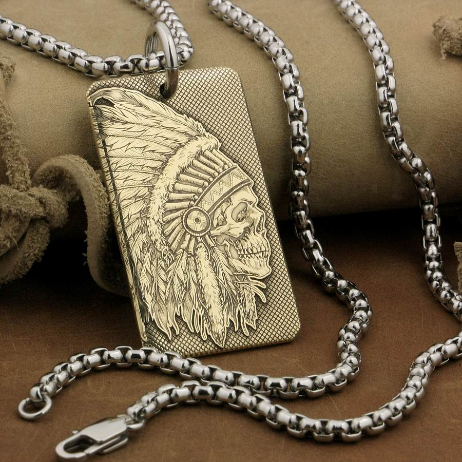 LINSION High Detail Deep Engraved Brass Indian Chief Skull Pendant Biker Rock Punk Style 9X022B 2