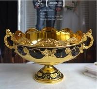 Fruit Bowl Plate Bowl Home Ktv CANDY BOWL Metal Fruit Gold Black Bowl Continental Carved Luxury