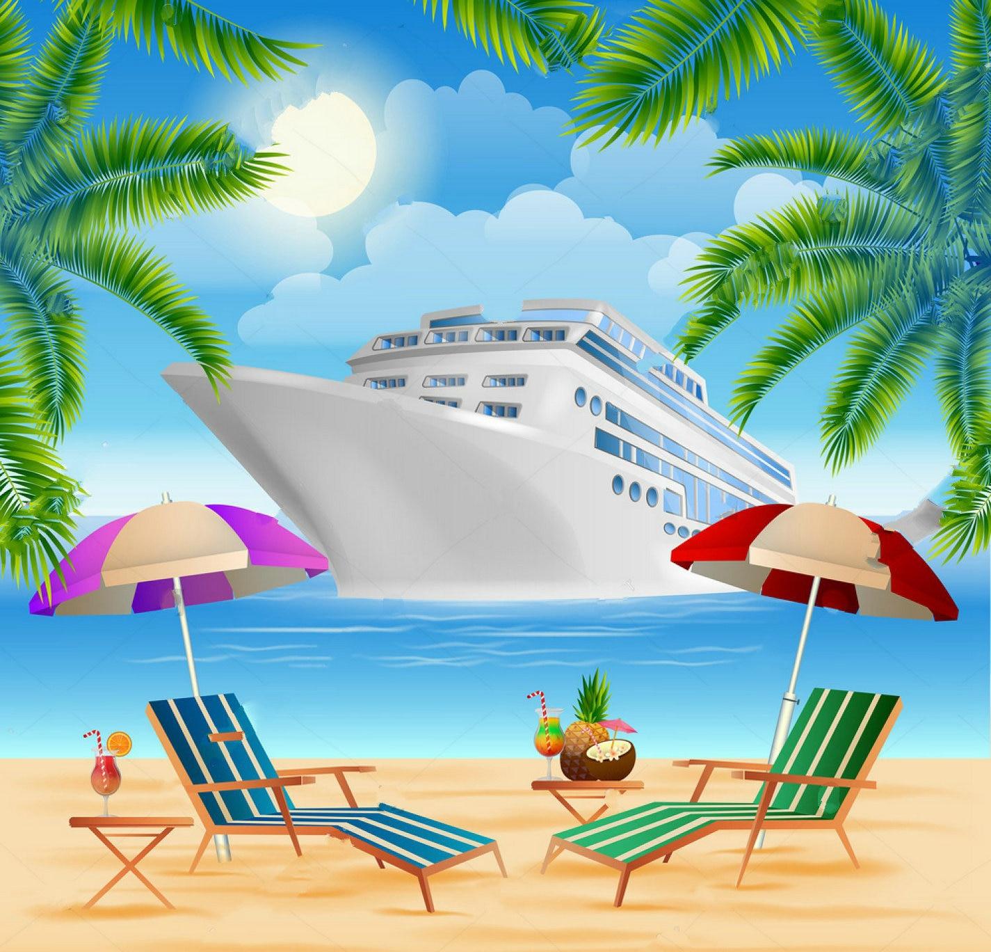 Party Island Beach: Cruise Ship Exotic Island Palm Trees Sea Beach Full Moon