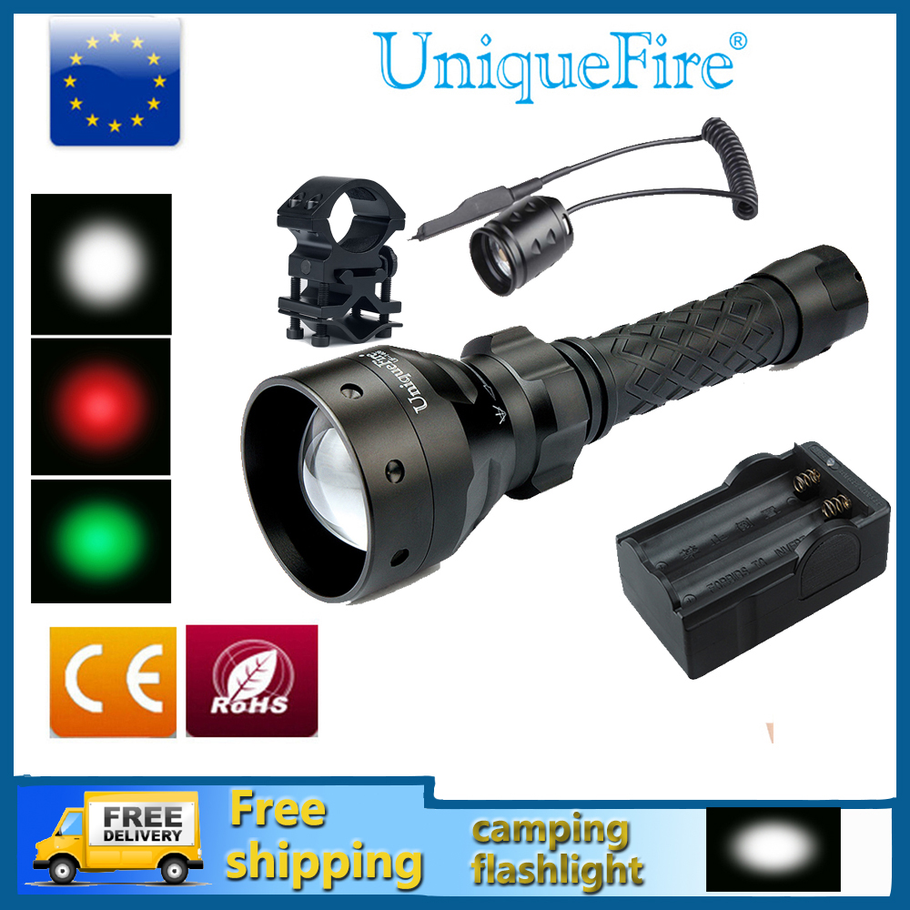 Uniquefire UF-1406 Rechargeable LED Flashlights Cree 18650 Tactical Torch Lamp+ Rat Tail + Charger+Gun Mount Free Ship