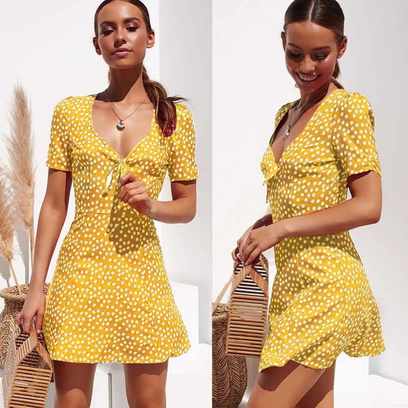 Nowe damskie letnie dorywczo z krótkim rękawem kwiatowy sukienka boho Party wieczór plaża V szyi sukienka moda Sexy Mini sukienki