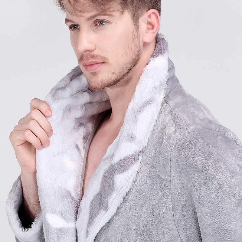 男性冬エクストラロング厚い熱バスローブメンズ高級フランネル暖かい着物バスローブ女性のセクシーな毛皮ローブ男性ソフトネグリジェ