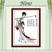 Lin Daiyu burying flower girl decor paintings counted print on canvas DMC 14CT 11CT Cross Stitch Needlework Sets Embroidery kits