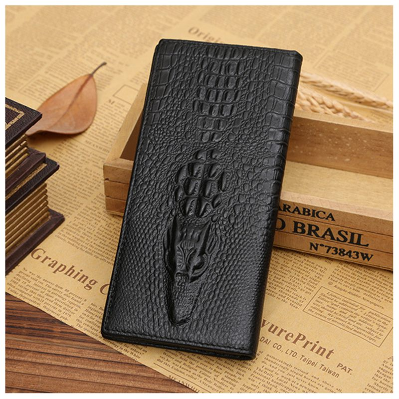 JINBAOLAI Fashion New Men Portfolios Quality Alligator Grain Long Leather Brown Cardholder Wallet