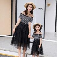 Mom Girl Lace Dress 2018 Girls Summer Clothes Off Shoulder Mom and Daughter Tutu Dress for Wedding Mother Daughter Dresses Set