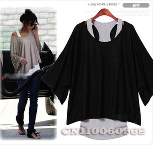 Vogue Autumn Spring T Shirt Women's Clothing Batwing Sleeve Loose Casual Top T-Shirt + Vest Plus Size S M L XL Free Shipping 069