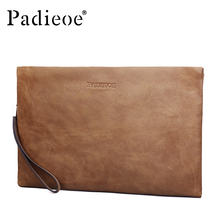 Padieoe 2017 New Fashion Men Clutch Bags Luxury Brand Genuine Leather Wallets for Male Casual Phone Bags Vintage Coin Purses