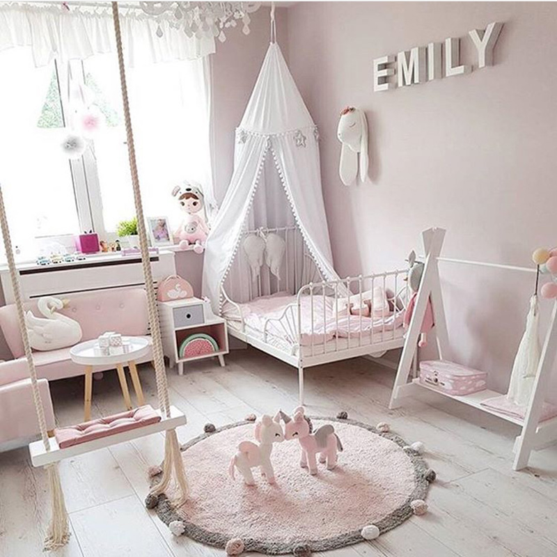 INS High Quality 100% Cotton Round With Ball Blanket Play Mat Tapete Carpet Soft Kid Room layout photography scene props 2KG